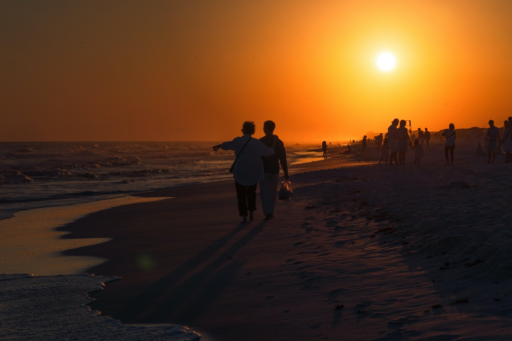 Couple walking down the beach.