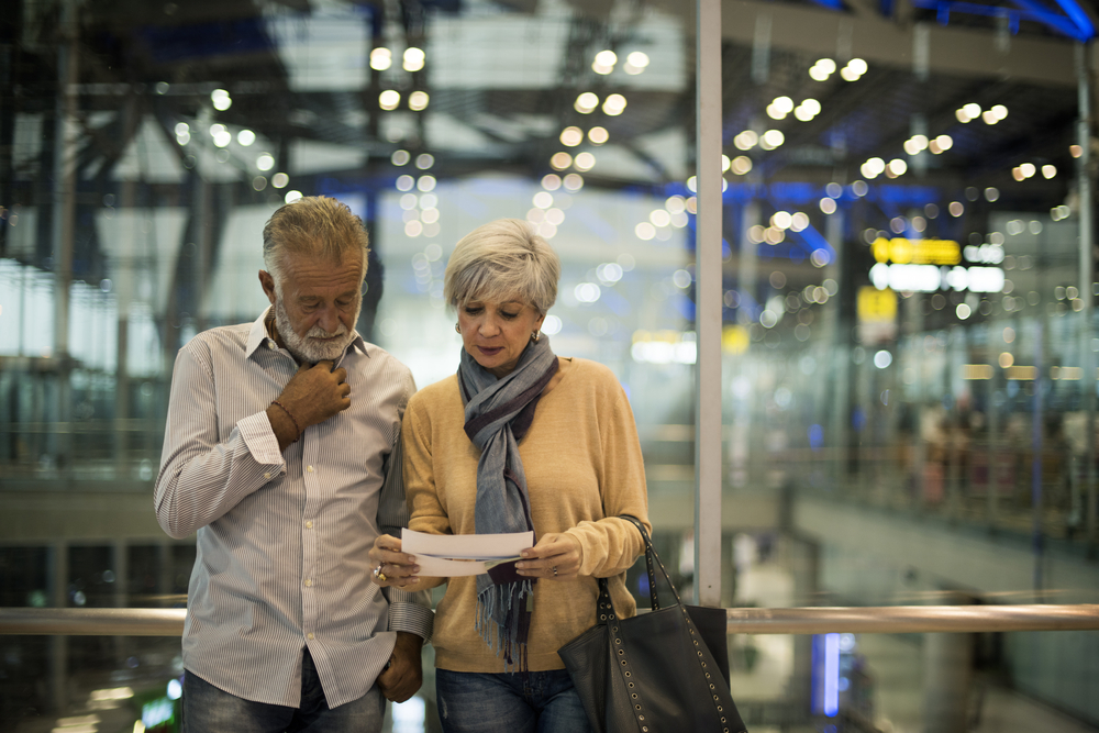 Senior couple in an airport.